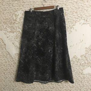 CJ Banks Black and Gray Printed Skirt